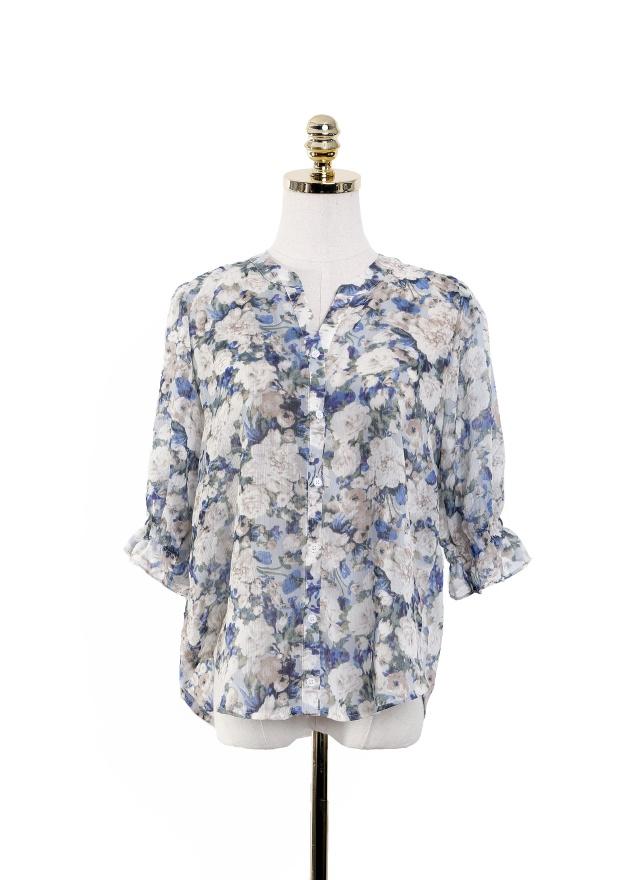 T1029 彩色花漾暈染襯衫