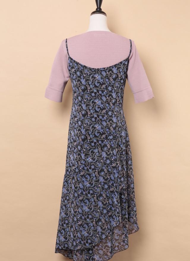D0440 絕美藍花圖案洋裝