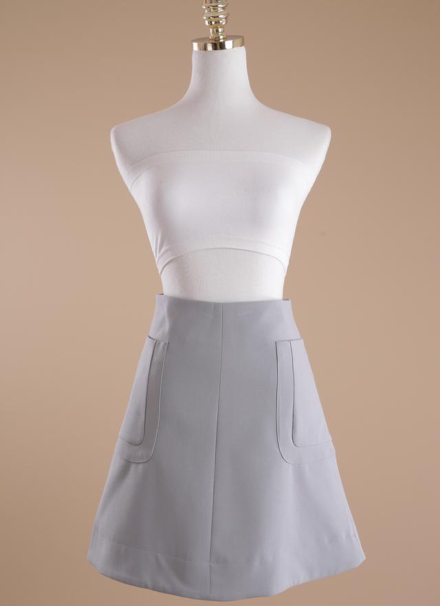 S0191 設計灰藍雙紋口袋短裙