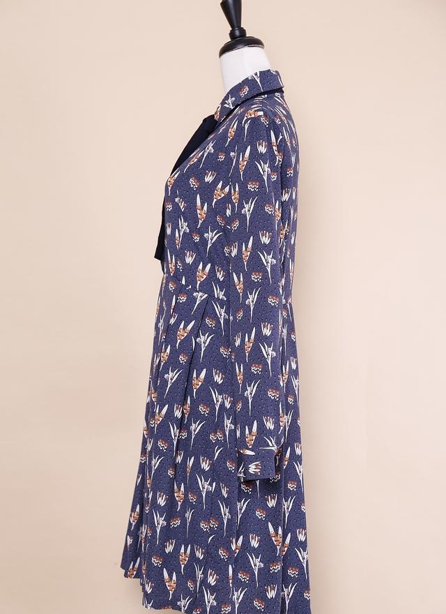 D0421 氣質印花綁帶百褶洋裝