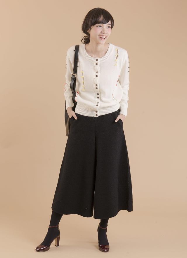 P0124 毛呢傘狀裙襬寬褲