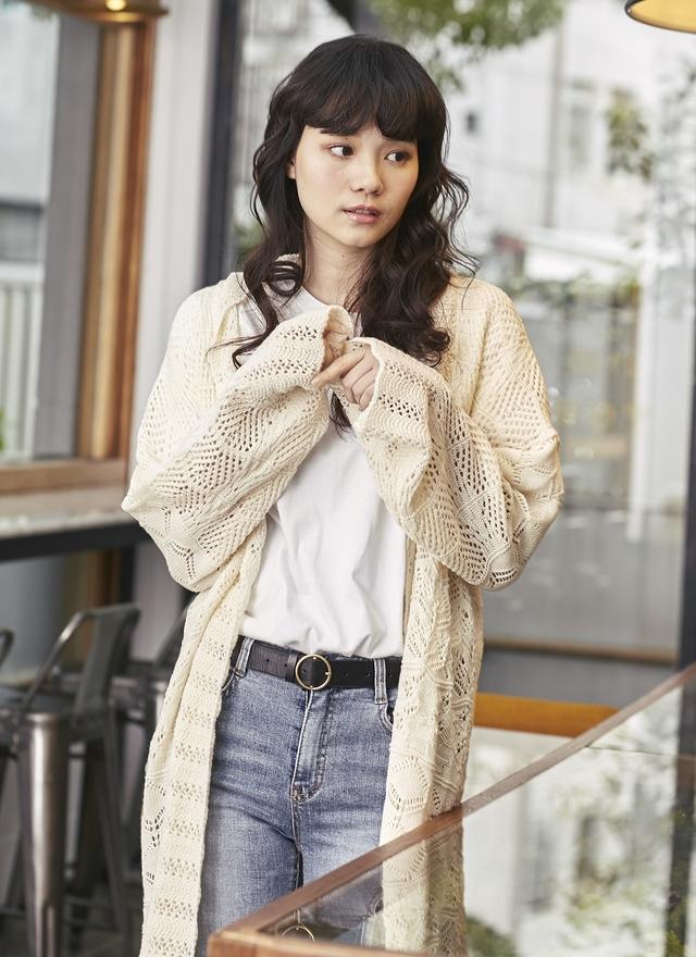 O0204 柔美開襟簍空針織外套
