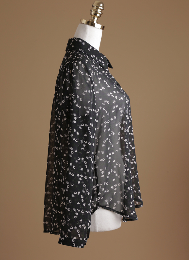T0355 剪影印花透膚襯衫