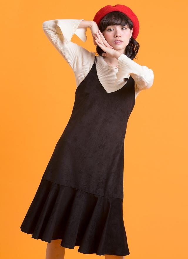 T0505 米色直紋開衩針織上衣