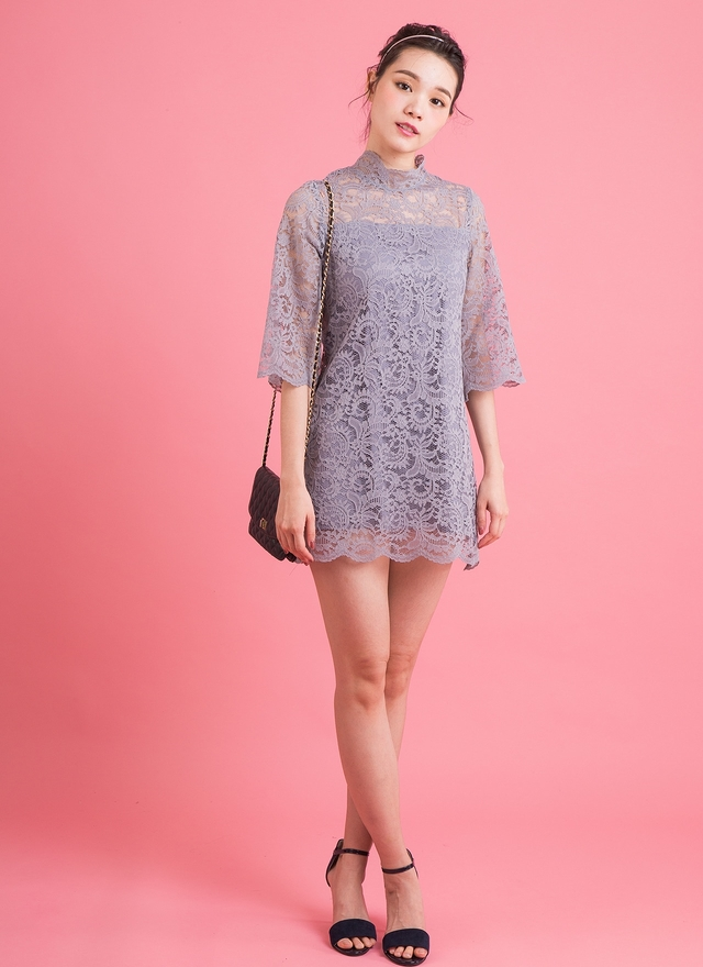 D0321 灰色蕾絲細緻洋裝