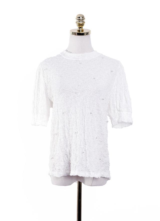 T1020 抓皺感珍珠點綴上衣 (兩色)