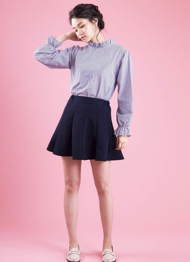 T0413 立領直紋花袖襯衫