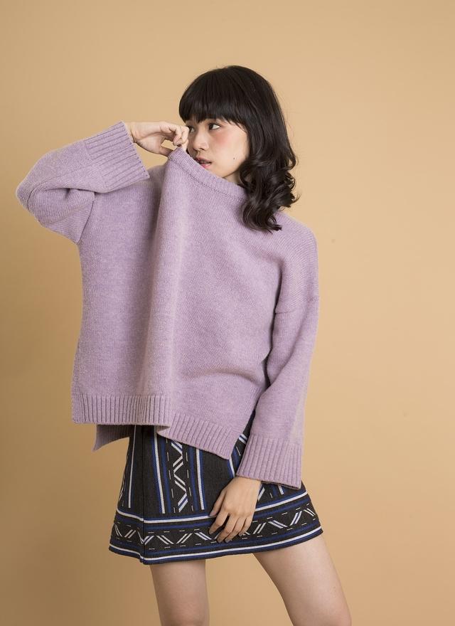 T0363 浪漫淺紫寬口袖毛衣
