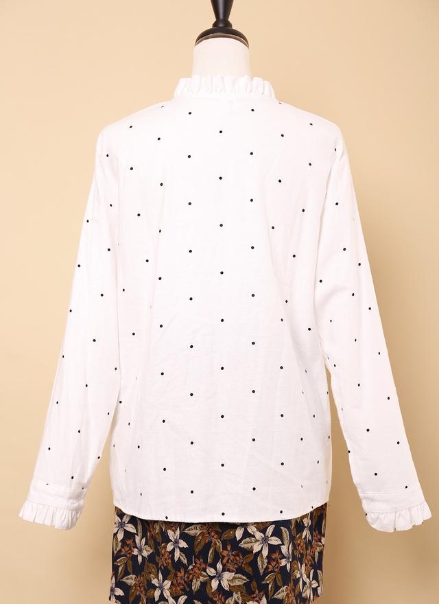 T0549 點綴圓點花袖襯衫