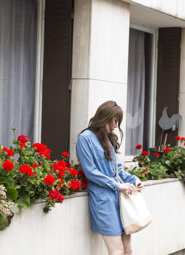 D0229 清爽簡單感丹寧洋裝