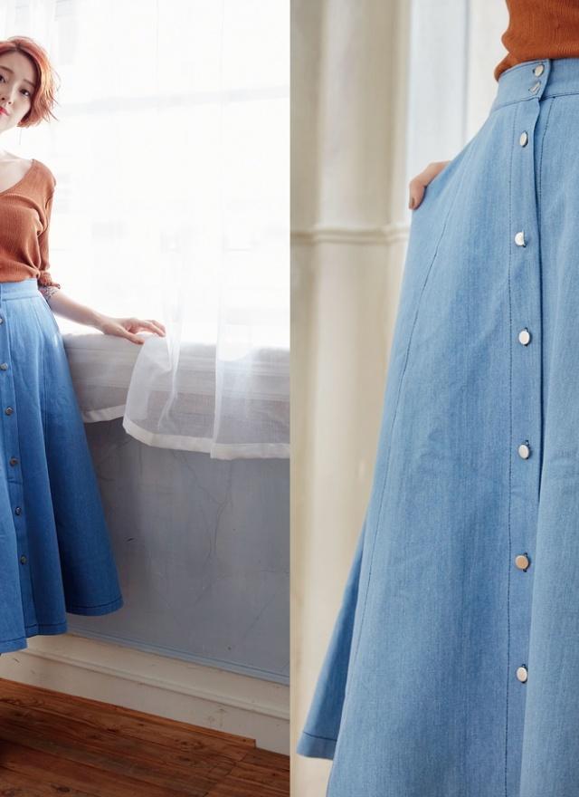 S0529 少女淺藍排釦傘裙