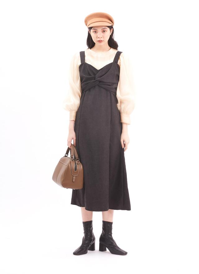 D1008霧幕絨絲吊帶洋裝(兩色)