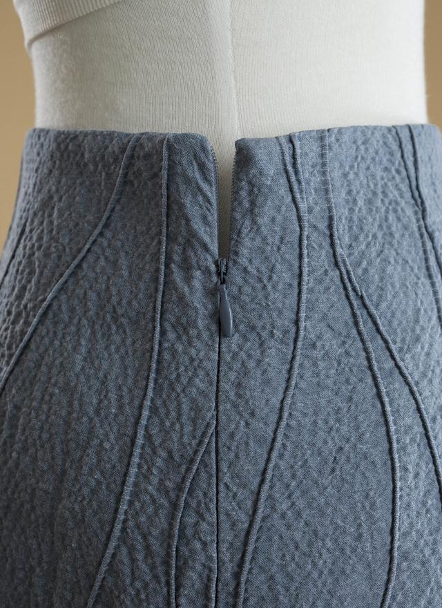 S0193 丹寧立體水線片裙