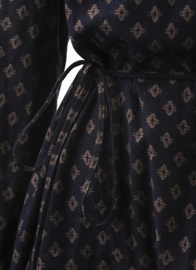 D0357 古典紋路深藍洋裝