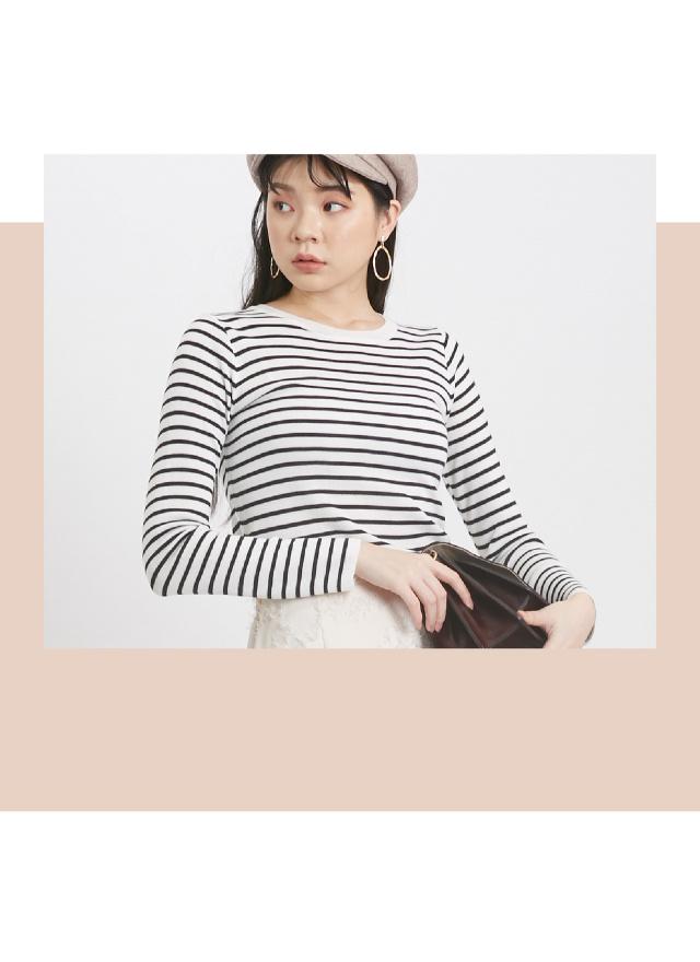 T1378原色線紋圓領上衣