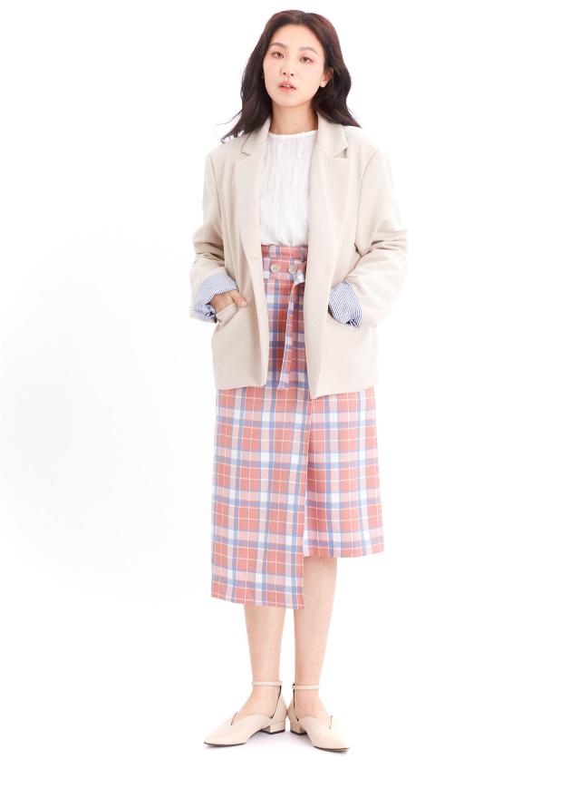 O0612杏月條紋西裝外套