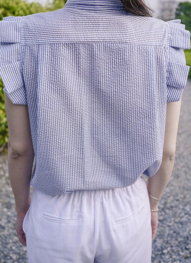 T0332 清爽直線折袖小領上衣