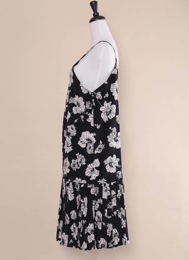 D0412 細肩燦花拼接洋裝