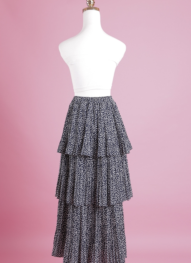 S0286 奢華層擺方塊長裙