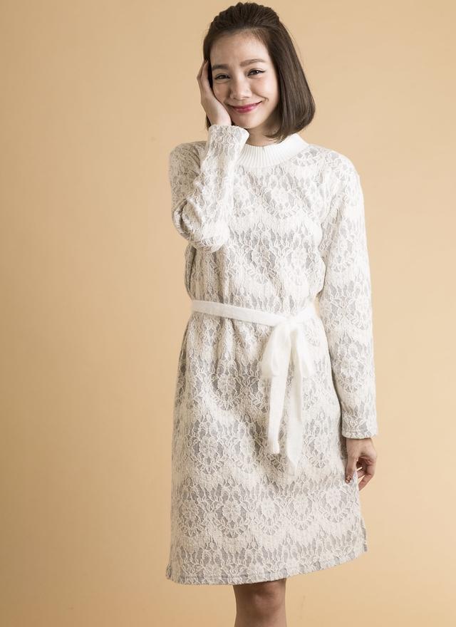 D0273 灰白蕾絲繫帶洋裝