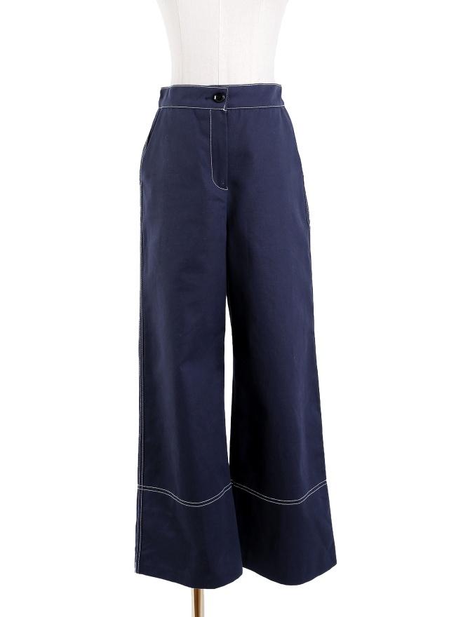P0203 質感深藍後鬆緊寬褲