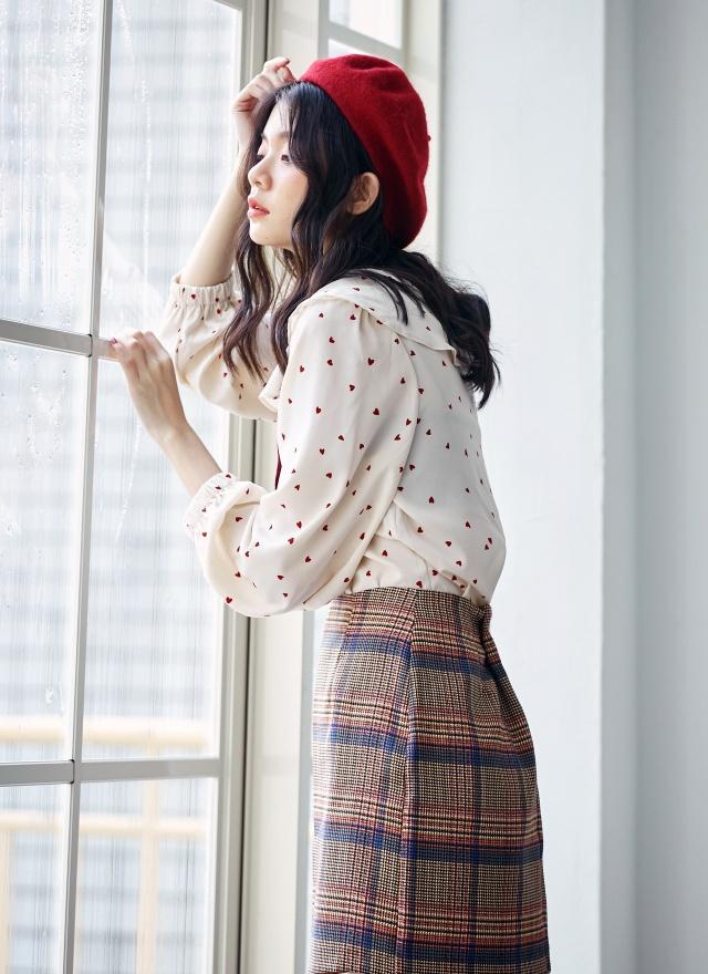S0619 亮彩細格棉料短裙