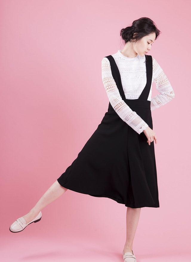 P0127 簡約吊帶寬褲裙
