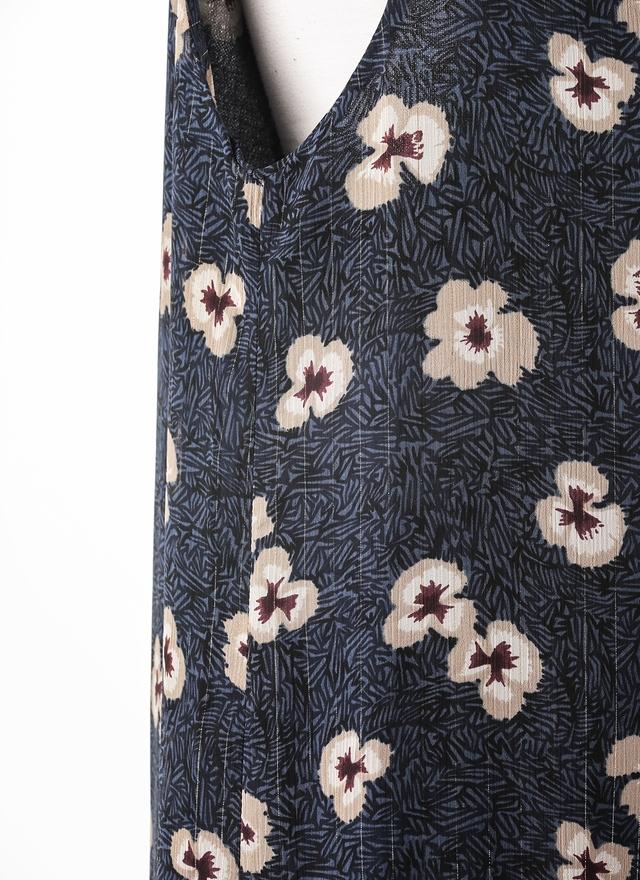 D0361 雪紡金線紋藍細肩洋裝