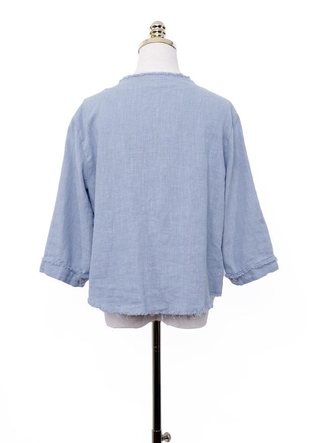 O0335 無領雙口袋抽鬚外套(兩色)