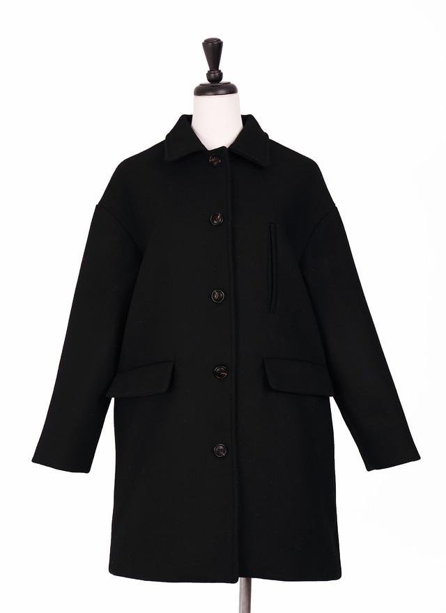 O0240 細膩小領黑色羊毛大衣