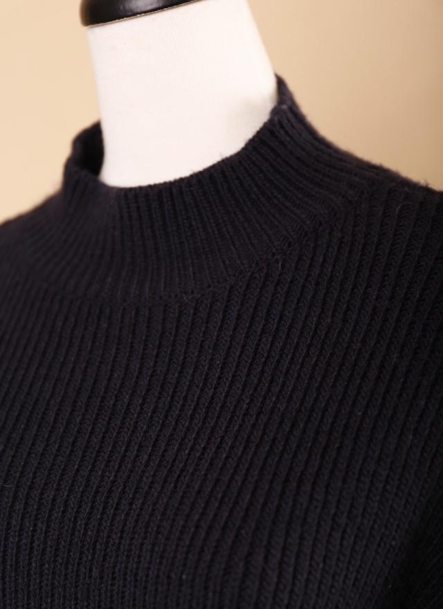 T0554 深藍直紋袖開岔針織毛衣