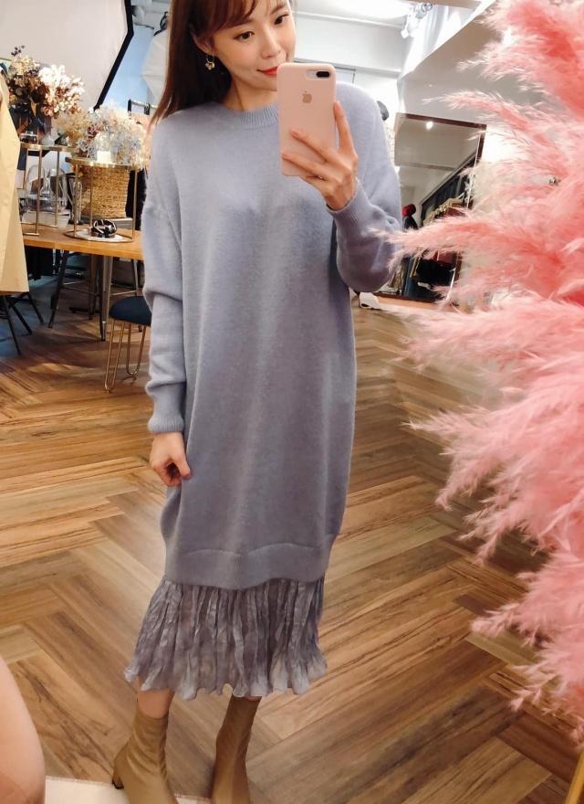 隨興針織雪紡拼接洋裝