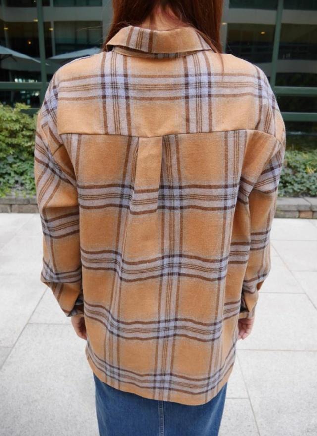 撞色格紋暈染襯衫