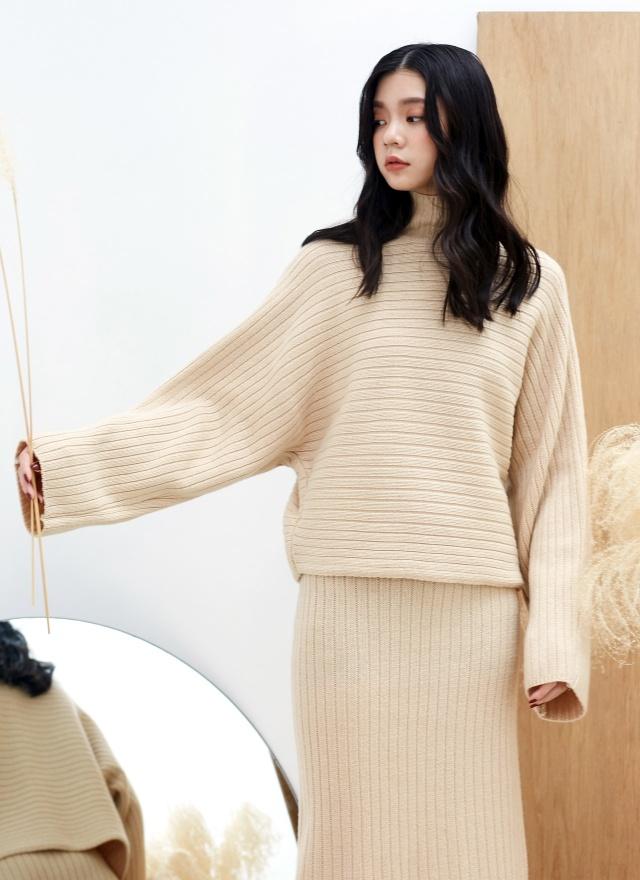 T1177  暖調立領針織毛衣