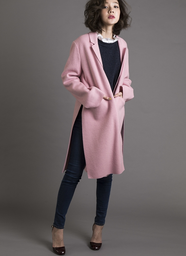 O0127 俐落小領開衩羊毛外套 (粉)