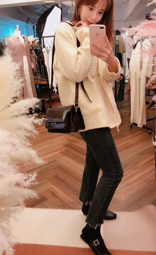 方格珍珠雙釦外套