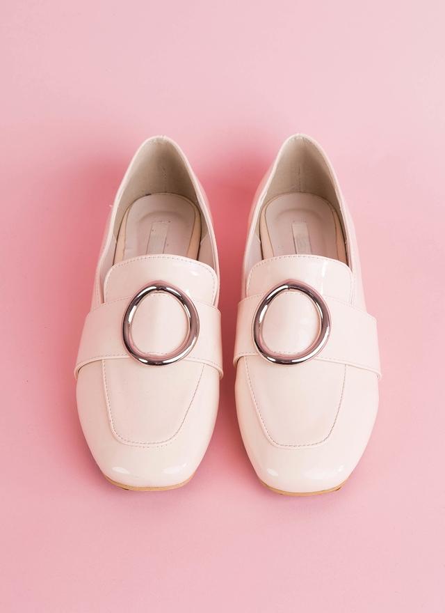 SH0056 圓銀釦粉平底鞋