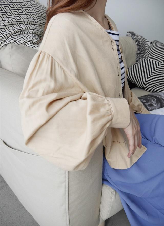 O0337無領縫線雙口袋外套
