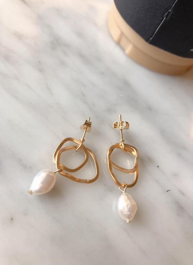 A0323鞦韆珍珠環扣耳環