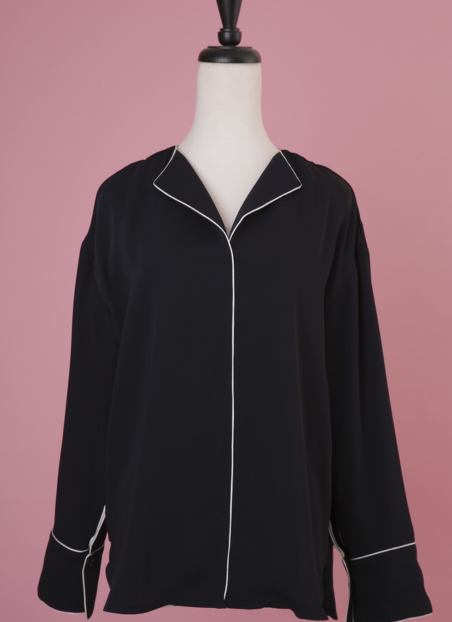 T0489 慵懶時尚深藍雪紡衫