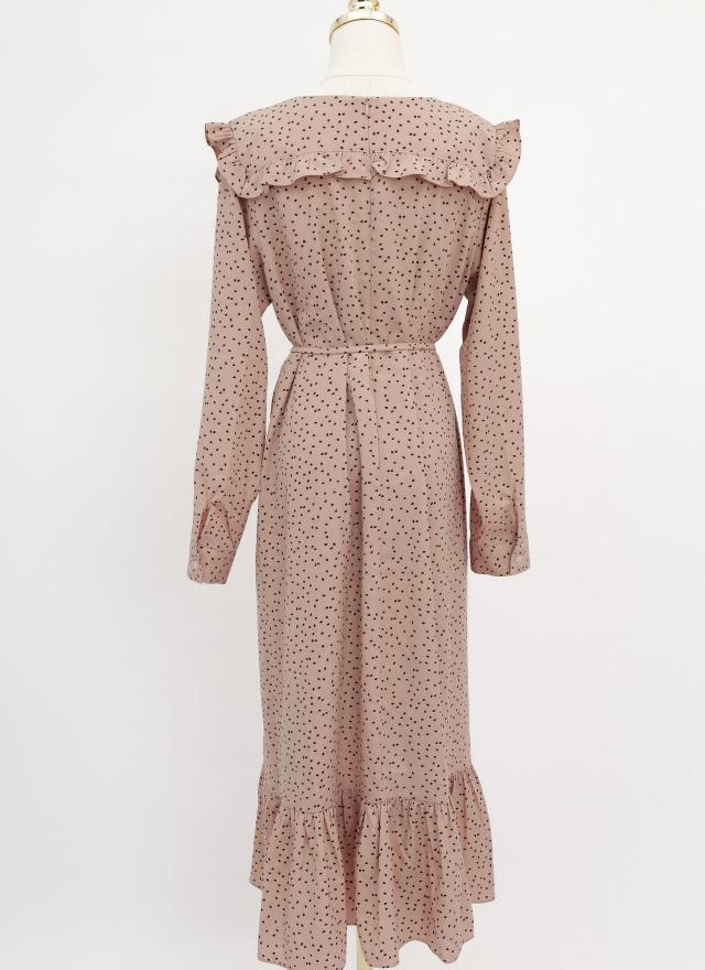 D1063瑪杏荷葉領洋裝