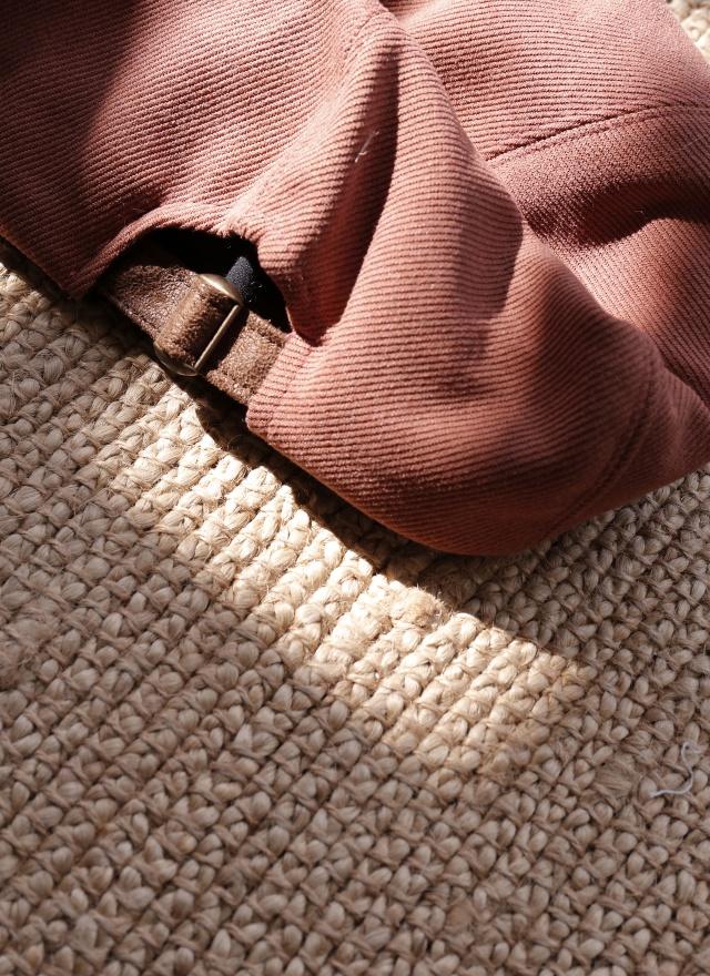 A0235 豆沙粉斜紋貝蕾帽