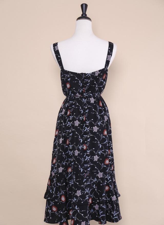 D0414 優雅花擺綁帶洋裝