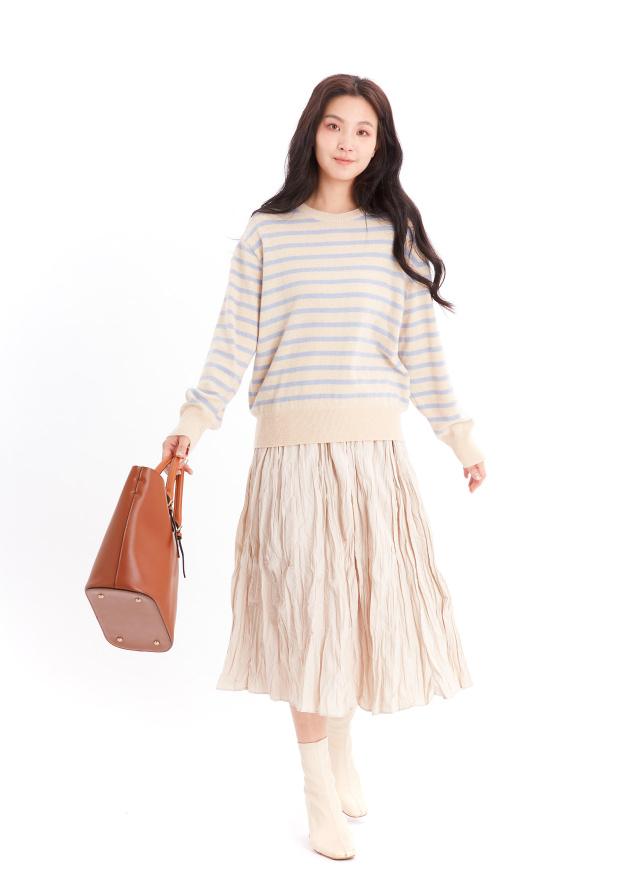 T1521春柑條紋針織衫(兩色)