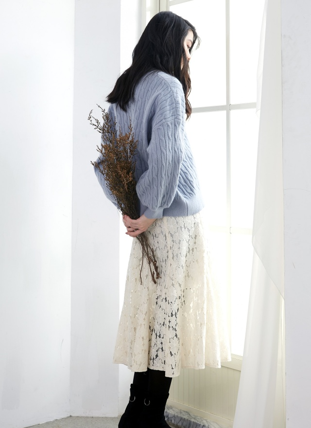 T1196麻花捲寬鬆毛衣(兩色)