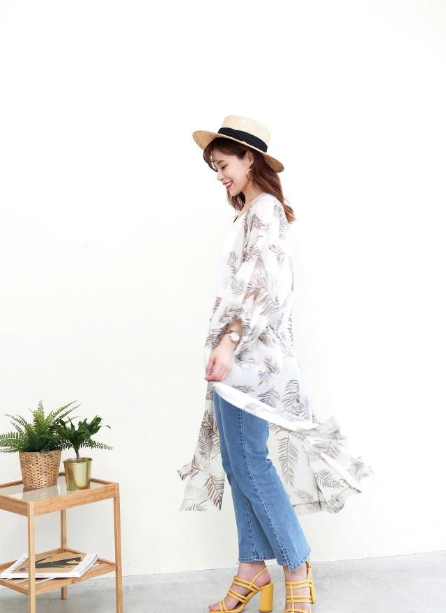 O0338 熱夏葉紋開襟長版外套(特惠)