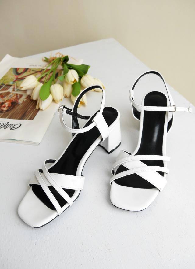 SH0146 秀氣交叉帶粗跟涼鞋