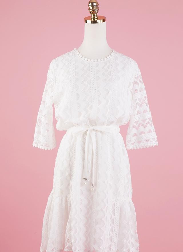 D0318 婚禮織紋洋裝(附腰帶)