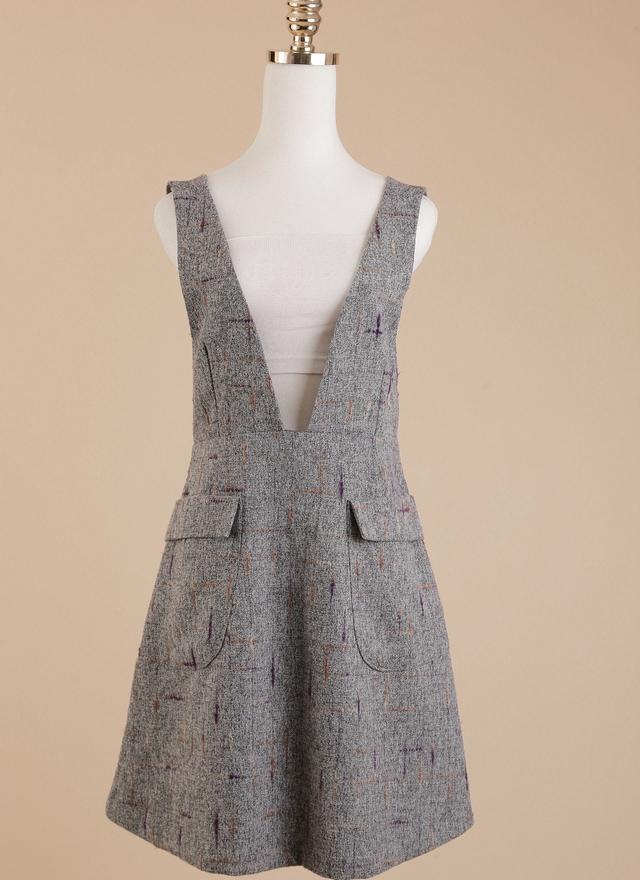 D0295 V字彩繪口袋吊帶洋裝