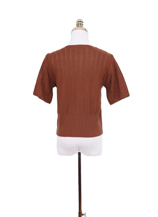 T1088 針織紋路排釦上衣 (兩色)